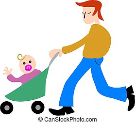 Fatherhood - father taking baby for a walk