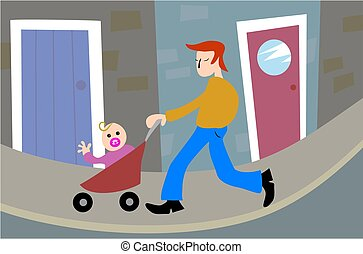 Fatherhood - father taking baby out in the pushchair