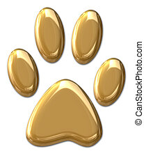 Golden Paw - 3D golden pawprint