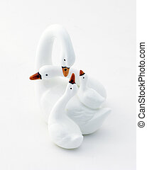 Swan Bone China - Swan family figures over white