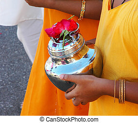 Devotee Carrying Milk Pot - Thaipusam - Devotee Carrying...