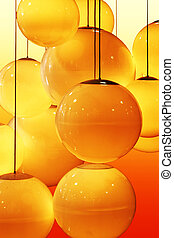 Abstract pattern of yellow and orange circles