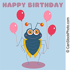 Birthday Bug - birthday card design featuring bugsy holding...