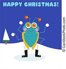 Christmas Bug - Christmas card design featuring bugsy