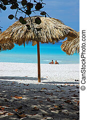 Beach Sunshade - Sunshade beach umbrella, on a Caribbean...