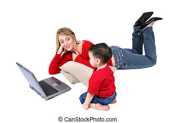 Mother Child Laptop - Mother and son sharing laptop time....