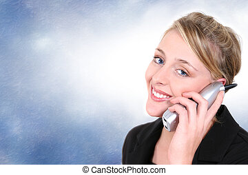 Woman Blue Eyes - Woman smiling, talking on cordless home...