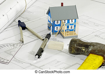 Home Builder 3 - Miniature House With Various Drafting Items...