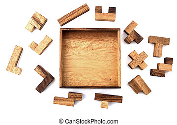 Wooden Puzzle - A wooden puzzle that hasn't been started yet