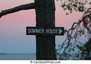 Summer House Sign - A Summer House sign in a park along the...