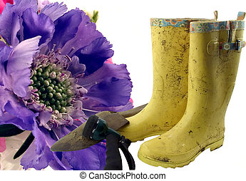 Rewards - Gardening tools and boots against a Scabiosa Macro