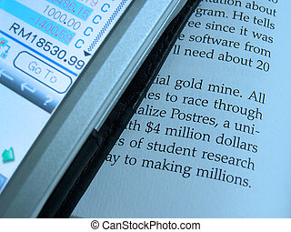 PDA and document - A very close up view of document and...