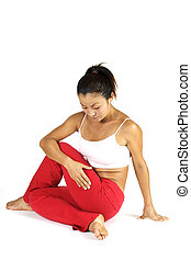 Yoga Pose - A fitness instructor demonstrates a yoga...