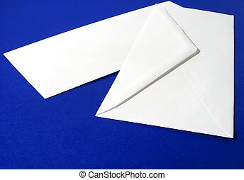 Envelopes - Blank white envelopes, front and back, blue...