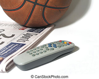 March Madness - Basketball, Sunday sports section, TV remote