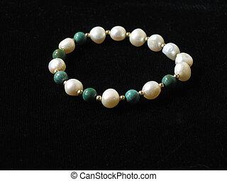 Pearls & Jade - Pearl and jade bracelet, black background