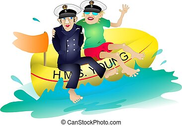 HMS Young - couple on a dinghy