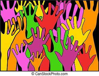 Hands - colourful hands waving