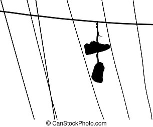 Lost Soles - A pair of shoes hanging from a powerline