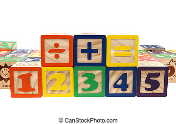 Number Blocks - Colorful childrens blocks over white Shot...