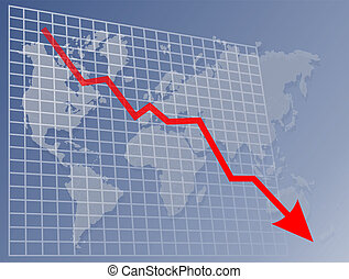 Chart World down - Chart with downwards arrow over a map of...