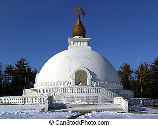 peace pagoda - view of peace pagoda on mountain top with...