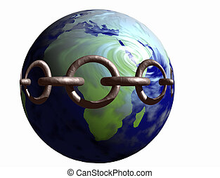 Earth in Chains 1 - Image of the world with a metal chain...