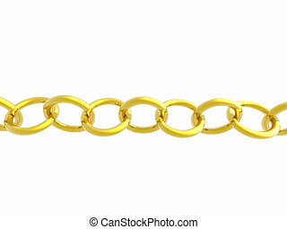Gold Chain on White - A rendering of a gold chain isolated...