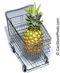 Shopping cart - Miniature model of a shopping cart with...