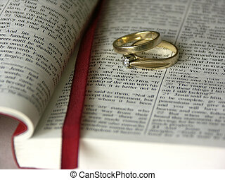 bible and rings ,shallow dof
