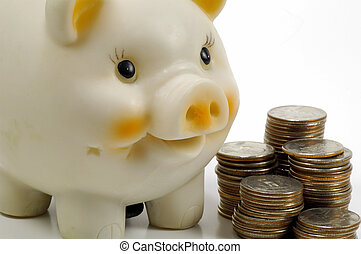Personal Finance - Piggy Bank With Stacked Quarters
