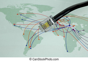 Communication - Telephone Cable With World Map In Background...
