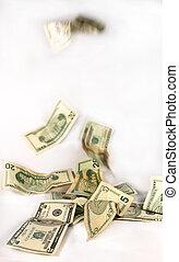 Falling dollars - Dollars tumbling down - falling prices,...