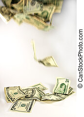Falling dollars - Dollar notes falling, symbolising money...