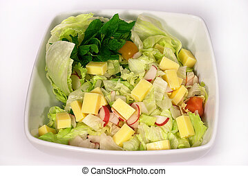 Cheese salad - Cheese, lettuce and radish salad