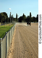 Harness Race 1 - Long shot of track with harness racing...