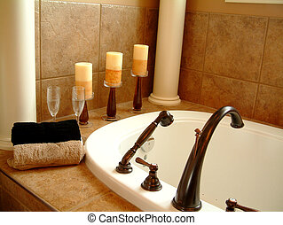 Bathtub and Candles - Luxury bathtub with candles and...