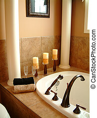 Luxury Bath - Bathtub, candles and towels