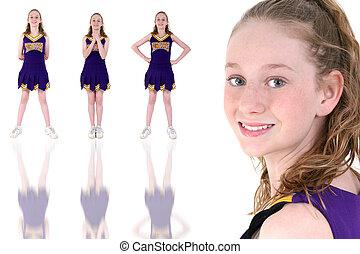 Teen Girl Cheerleade - Fourteen year old cheerleader in...