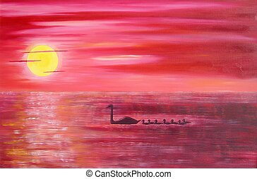 Pink Sunset - pink sunset with swans