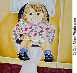 Toilet Training - photo of my original acrylic painting
