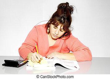 donna, lei, scrivania