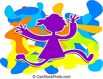 Funky Kid - colourful sillouette of a child running