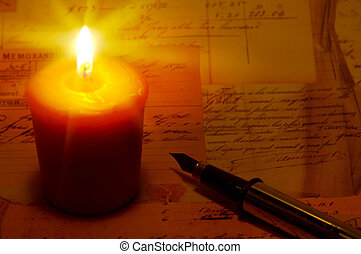 Candle Light with a Pen and letters.