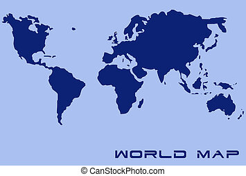 World Map With Clipping Path Included.