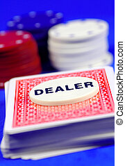 Dealer - Playing Cards and Poker Chips With Focus on Dealer...