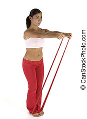Exercise Band - A female fitness instructor demonstrates an...
