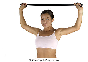 Resistance Training - A female fitness instructor...