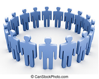 Company circle. - 3d people in a circle.