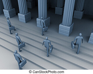 The entrance - 3d people entering an old building.